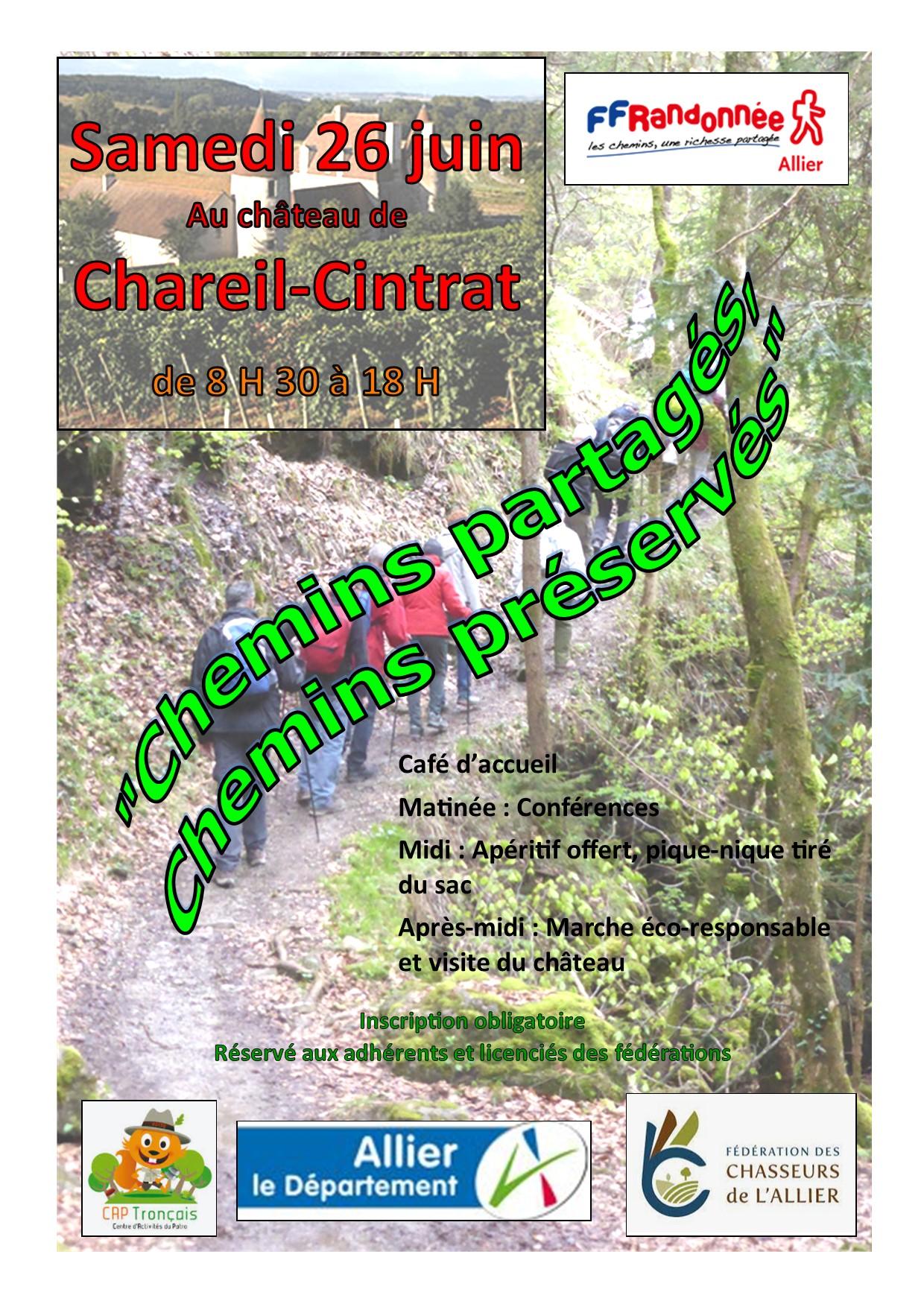 Chemins partagés –Chemins préservés le 26 juin2021 au Château de Chareil -Cintrat